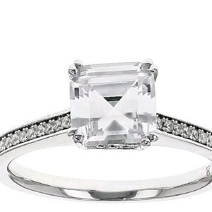 JTV Sterling Silver Cubic Zirconia Solitaire Ring